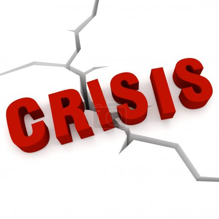 Photo for Concept of crisis - the word crisis in the background cracks - Royalty Free Image