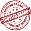 Grunge rubber stamp with word trusted brand inside...