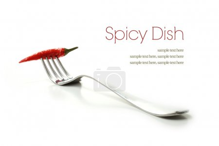 Photo for High key studio macro of a stainless steel fork and red chilli against a white background with soft shadows and copy space. - Royalty Free Image
