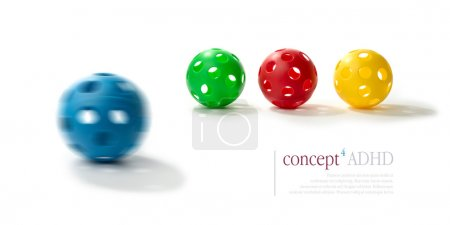 Photo for Concept image illustrating Attention Deficit Hyperactivity Disorder (ADHD). Spinning blue plastic ball with the illusion of two eyes and a mouth in foreground with normal balls in sharp relief in background. ADHD concept. Copy space. - Royalty Free Image