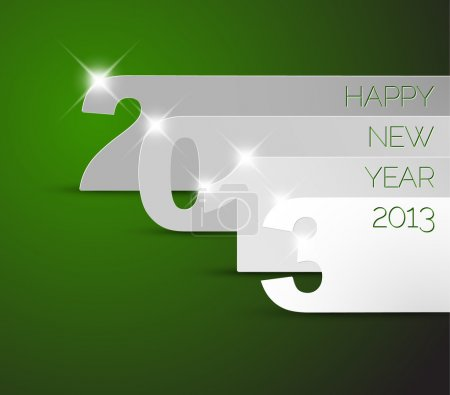 Happy New Year 2013 green vector card