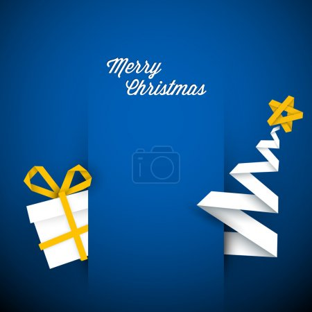 Illustration for Simple vector blue christmas card with gift and tree made from paper stripe - Royalty Free Image