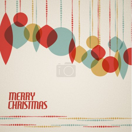 Illustration for Retro Christmas card with christmas decorations - teal, brown and red - Royalty Free Image