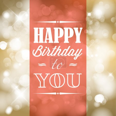 Photo for Happy birthday retro vector illustration with lights in background - Royalty Free Image