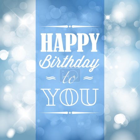 Illustration for Happy birthday retro vector illustration with blue lights in background - Royalty Free Image