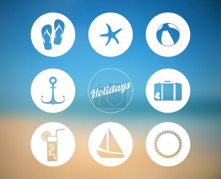 Illustration for Vector summer poster made from icons with abstract beach background - Royalty Free Image