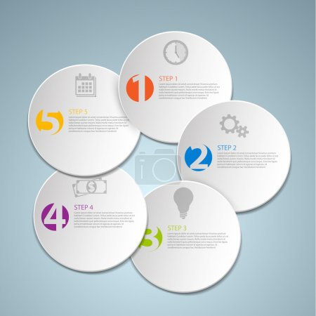 Set of round Vector steps template