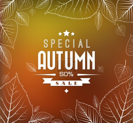 Illustration for Autumn sale vector retro poster with abstract blurred fall background and white leafs - Royalty Free Image