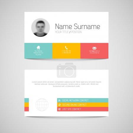 Illustration pour Modèle de carte de visite simple et moderne avec interface utilisateur plate - image libre de droit