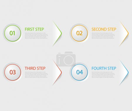 Illustration for One two three four - colorful flat vector progress icons for four steps - Royalty Free Image