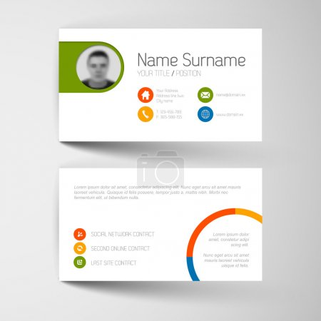 Business card template with flat user interface