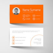 Orange business card template with user interface