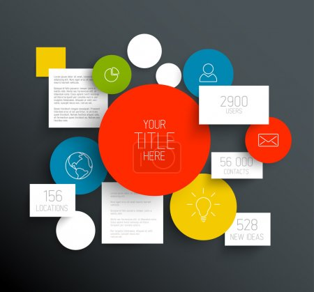 Illustration for Vector dark abstract circles and squares illustration infographic template with place for your content - Royalty Free Image