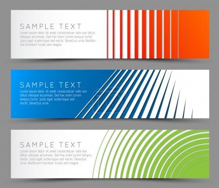 Illustration pour Bannières horizontales colorées simples - avec motif de ligne - image libre de droit