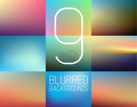 Illustration for Collection of 9 vector Abstract colorful blurred  background - Royalty Free Image