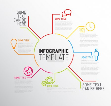 Illustration for Vector Infographic report template made from lines and icons - Royalty Free Image