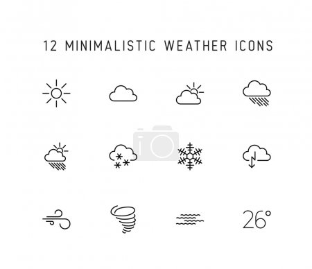 Illustration for Vector weather thin line icon set isolated - Royalty Free Image