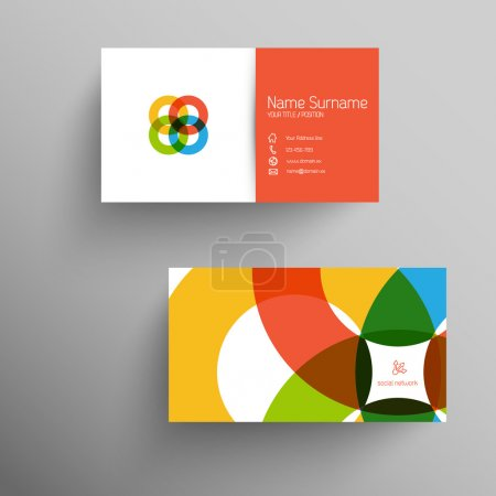 Illustration for Modern simple light business card template with flat user interface - Royalty Free Image