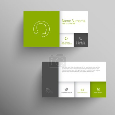 Illustration for Modern green simple business card template with flat mobile user interface - Royalty Free Image