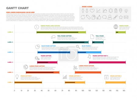 Illustration pour Graphique de vecteur projet chronologie - diagramme de Gantt des progrès du projet - image libre de droit