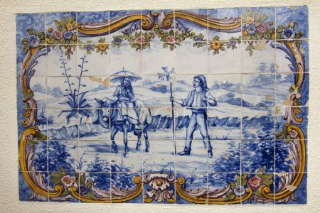 Hand painted azulejo piece