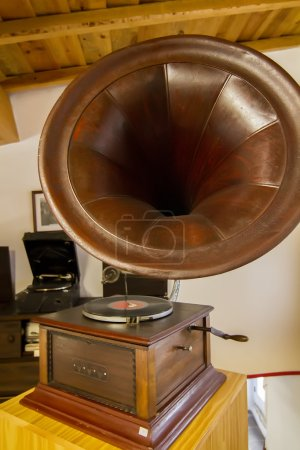 Old gramophone record player