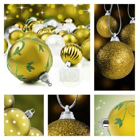 Photo for Collage of golden christmas decorations on different backgrounds - Royalty Free Image