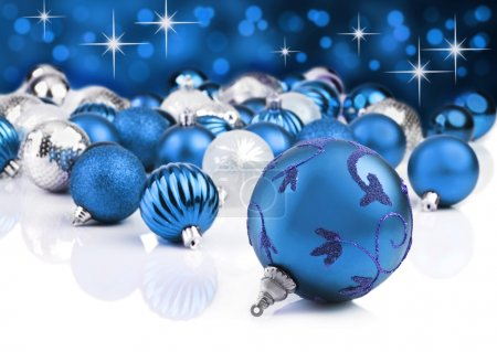 Blue decorative christmas ornaments with star background