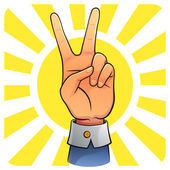 Image of victory hand with sunlight background Peace and winning symbol EPS8 vector file