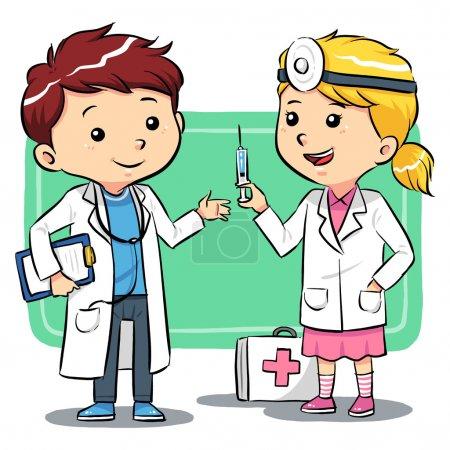 Illustration pour Les enfants jouent pour être médecins. Fichier vectoriel EPS8 . - image libre de droit