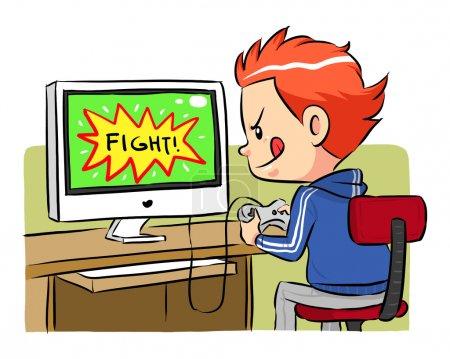 Illustration pour Un garçon jouant à des jeux informatiques à l'aide d'un contrôleur joystick. Fichier vectoriel EPS8 . - image libre de droit