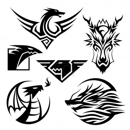 Illustration for 6 different dragon symbols. Vector EPS10 file. - Royalty Free Image
