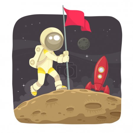 Illustration for Astronaut landing on the moon and give a flag sign. - Royalty Free Image