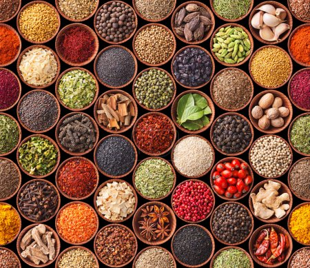 Seamless texture with spices and herbs...