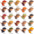 Collection of different spices and herbs with labe...