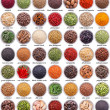 Large collection of different spices and herbs iso...