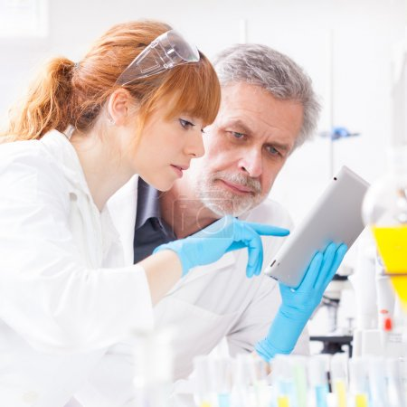 Photo for Attractive young female scientist and her senior male supervisor checking experiment protocol at tablet laptop computer in the life science research laboratory (bichemistry, genetics, forensics, microbiology..) - Royalty Free Image