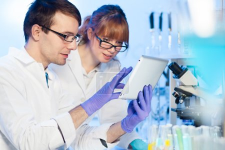 Photo for Attractive young female research scientist and her post doctoral male supervisor looking focused at the tablet in the life science (forensics, microbiology, biochemistry, genetics, oncology...)laboratory. - Royalty Free Image