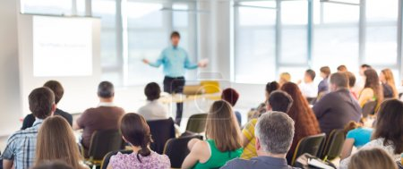 Photo for Speaker at business workshop and presentation. Audience at the conference room. - Royalty Free Image