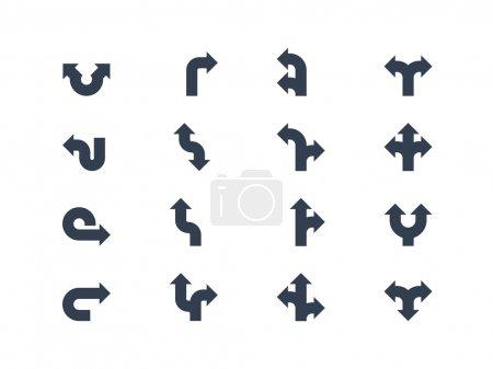 Illustration pour Flèches et signes directionnels sur fond blanc - image libre de droit