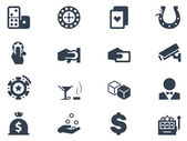Casino and gambling icons on white background