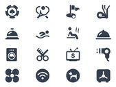 Hotel services icons on white background