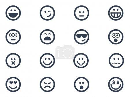 Illustration pour Icônes de sourire sur fond blanc - image libre de droit