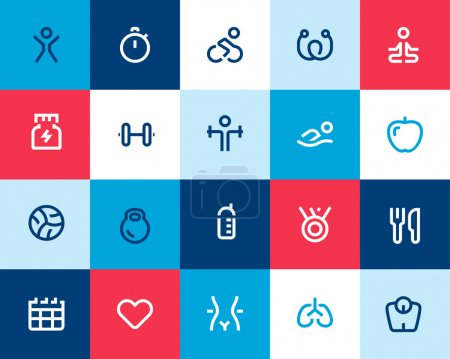 Fitness icons set. Flat