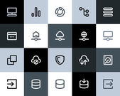 Hosting and wireless network icons Flat series