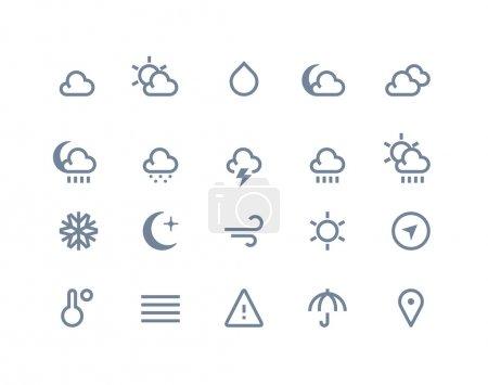 Illustration pour Icônes météo réglées. Série de lignes - image libre de droit