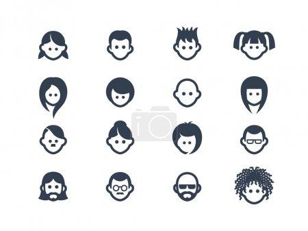 Illustration pour Ensemble d'icônes avatar et utilisateur isolées sur blanc - image libre de droit