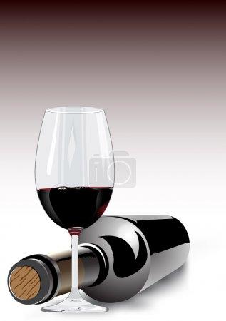 Illustration pour 3d rendu de vin rouge dans un verre à vin et une bouteille non étiquetée couchée sur le côté avec le bouchon orienté vers la caméra sur un fond gris avec dégradé de couleur et copyspace - image libre de droit
