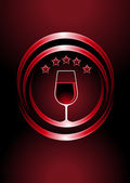 Icon for premier vintage wines with a wine glass full of red wine in two curved concentric circles with a central glow and five star rating