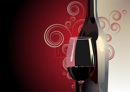 Illustration pour 3d Illustration d'une bouteille et d'un verre de vin rouge sur un fond bicolore rouge et blanc avec dégradé de couleur, motif décoratif et copyspace pour un fond luxueux - image libre de droit